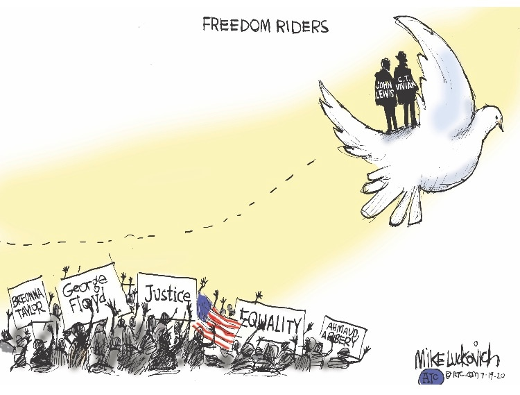 Cartoonists salute the John Lewis they knew or turned to for inspiration