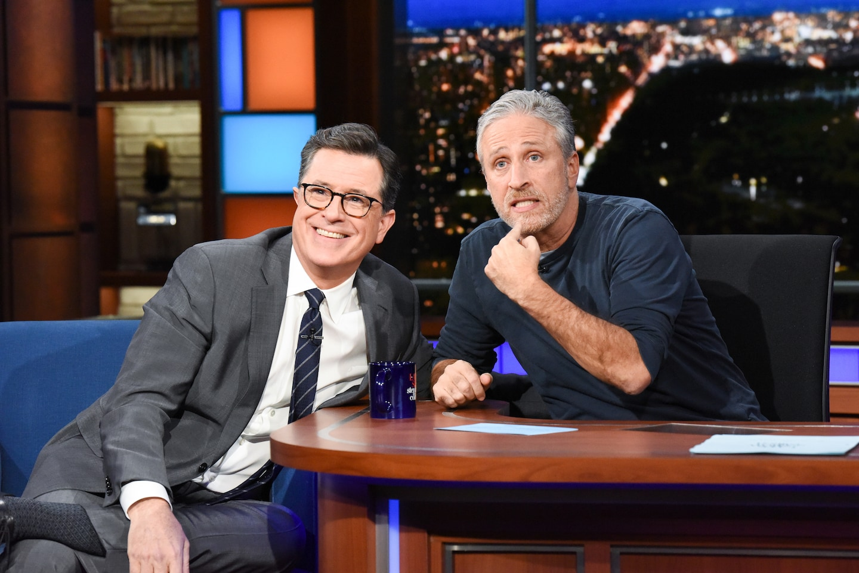 Jon Stewart asked Stephen Colbert how he found his 'Late Show' voice. The answer? Joe Biden.