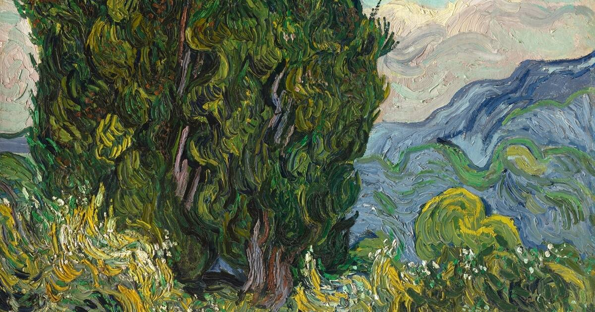 Van Gogh painted 'Cypresses,' at the Metropolitan Museum of Art, shortly after 'Starry Night'